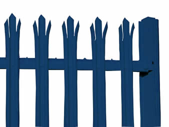 Blue palisade fencing with w-section pale & RSJ post.
