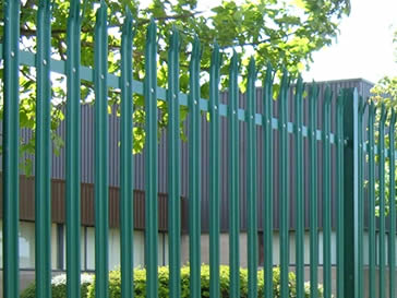 Green powder coated commercial security palisade fencing.