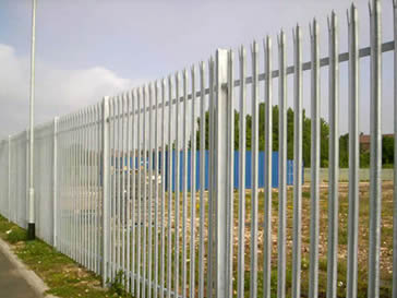High security galvanised palisade fencing around a chemical factory.