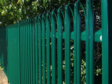 Green powder coated palisade perimeter fencing with height of 2.1m.