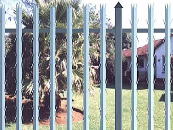 Angle palisade fencing with 3-spikes on top and ten spikes on the body.