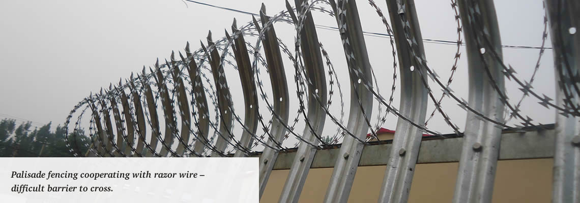 Razor wire increasing the difficulty of climbing-over palisade fencing.