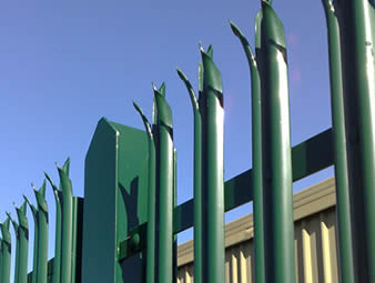High security palisade fencing with w-section pales, RSJ points and green powder coating