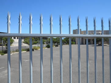 Angle palisade fencing with 7-spikes head style.