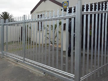 Commercial palisade fencing with unique head style forbidding any intruder.
