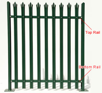 Bespoke palisade fencing panel with 9 W-section pales