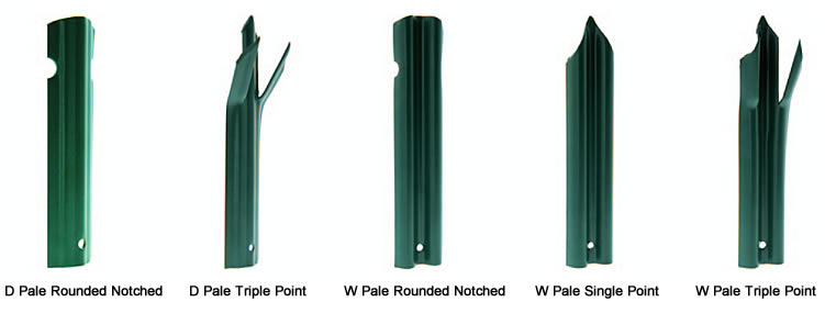 Powder coated palisade pales with three head styles