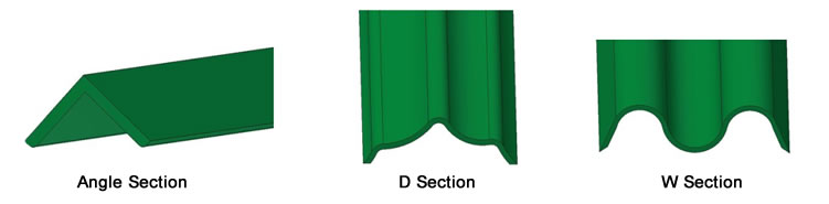 Palisade fencing pale sections - angle, d & w section