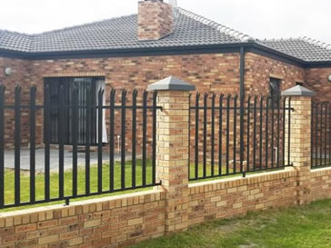Black wall palisade fencing for upscale villa district